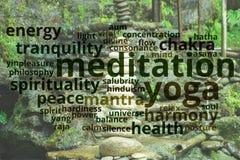 瑜伽和凝思概念 免版税库存照片