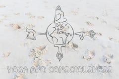 瑜伽和知觉:做姿势的信奉瑜伽者环球 库存照片