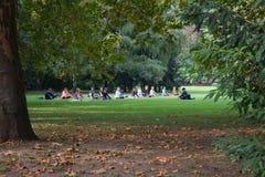 瑜伽在公园玛格丽特,布达佩斯,匈牙利 一个小组在做瑜伽的一名亚裔妇女的指导下青年人 库存照片
