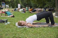 瑜伽在公园 免版税图库摄影