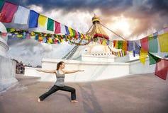 瑜伽在尼泊尔 库存图片