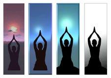 瑜伽太阳致敬边界背景 图库摄影