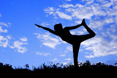 瑜伽妇女实践的姿势,剪影 库存图片