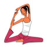 瑜伽妇女,一个美好的身体的瑜伽 皇族释放例证