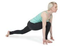瑜伽妇女绿色position_193 免版税图库摄影