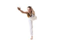 瑜伽姿势战士3 库存照片