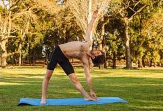 瑜伽姿势的人在公园 库存照片