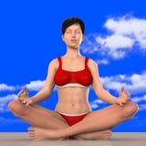 瑜伽姿势的思考的妇女 图库摄影