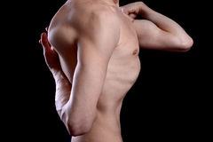 瑜伽姿势的皮包骨头的人 库存照片
