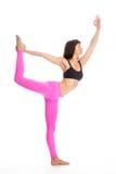 瑜伽姿势的-舞蹈位置俏丽的妇女。 免版税库存照片
