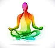瑜伽姿势,抽象颜色背景 向量例证