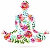 瑜伽姿势,水彩明亮的花卉例证 库存照片
