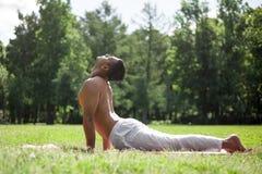 瑜伽姿势bhudjangasana在公园 免版税库存图片
