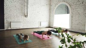 瑜伽学生做着太阳致敬在明亮的席子的准备序列的元素在健康中心 板条位置 股票录像