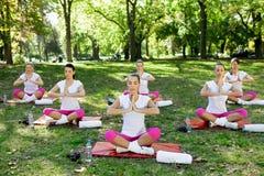 瑜伽小组 库存图片