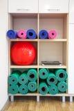 瑜伽席子和红色健身房球 库存图片