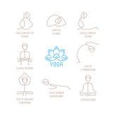 瑜伽摆在单音线型的传染媒介例证 免版税库存照片