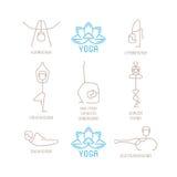 瑜伽摆在单音线型的传染媒介例证 免版税库存图片