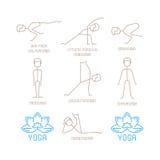 瑜伽摆在单音线型的传染媒介例证 库存图片