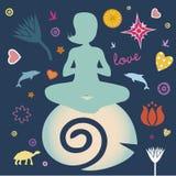 瑜伽春天海报 库存图片