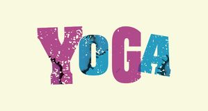 瑜伽概念被盖印的词艺术例证 库存照片