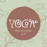 瑜伽瑜伽学校的徽章象 免版税图库摄影