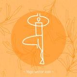 瑜伽瑜伽学校的徽章象 库存照片