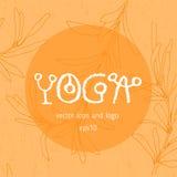 瑜伽瑜伽学校的徽章象 免版税库存图片