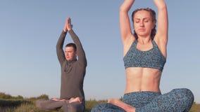 瑜伽生活方式、信奉瑜伽者妇女和人在莲花坐思考与自然一致坐草反对天空 股票视频