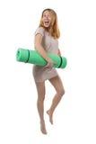 去瑜伽的孕妇 免版税库存照片