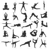 瑜伽美丽的剪影 免版税库存图片
