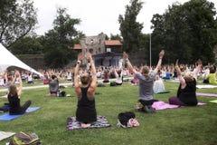 瑜伽节日在爱沙尼亚 免版税库存图片