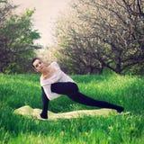 瑜伽训练在森林里 免版税库存图片