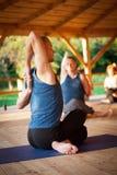 瑜伽训练过程 图库摄影