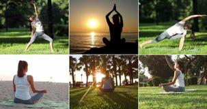 瑜伽集合,女子实践的瑜伽 股票视频