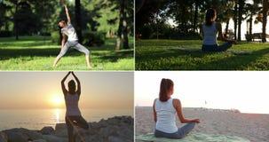 瑜伽集合,女子实践的瑜伽 股票录像