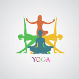 瑜伽,传染媒介例证, app,横幅 免版税库存图片