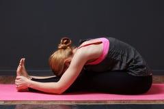 瑜伽 做瑜伽锻炼的年轻白肤金发的妇女 图库摄影