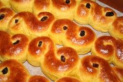 瑞典人露西娅小圆面包 免版税库存照片