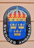 瑞典使馆标志 图库摄影