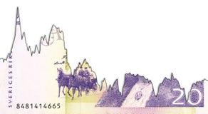 20瑞典克朗钞票表明汇率的衰落图表与copyspace 免版税图库摄影