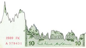 10瑞典克朗钞票表明汇率的衰落图表与copyspace 免版税图库摄影