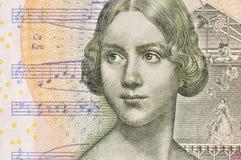 瑞典克朗钞票仔细的审视  免版税库存图片