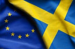 瑞典和欧盟旗子  库存照片