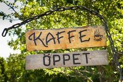 瑞典咖啡馆标志 库存照片