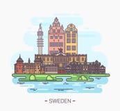 瑞典国家地标在斯德哥尔摩, Gamla斯坦 库存例证