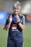 瑞典女性橄榄球教练-插入式放大器Sundhage 库存照片