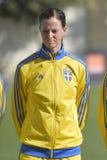 瑞典女性足球运动员-洛塔・谢林 图库摄影