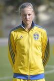 瑞典女性足球运动员-莉娜Hurtig 免版税库存照片
