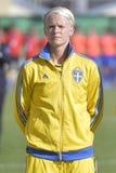 瑞典女性足球运动员- Nilla菲舍尔 图库摄影